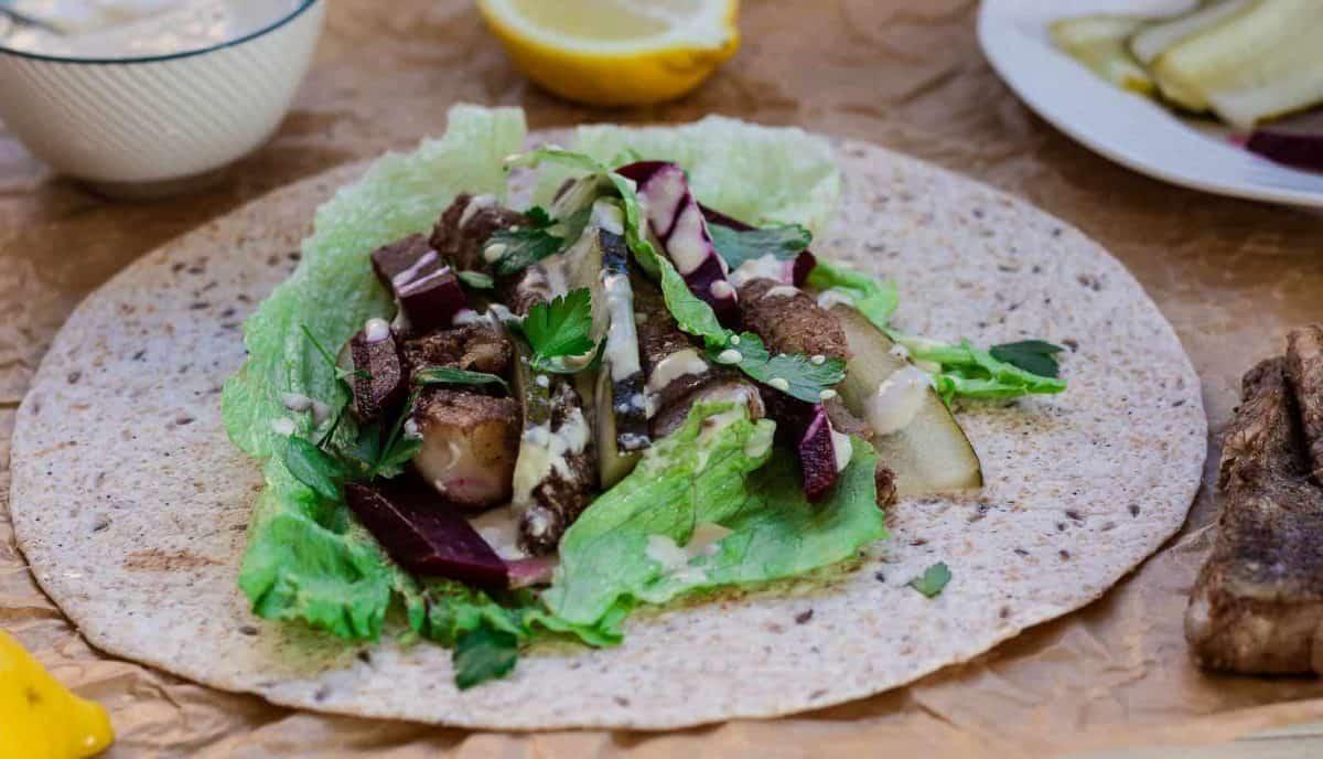 fish shawarma with tahini dressing