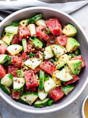 watermelon salad with suya spice