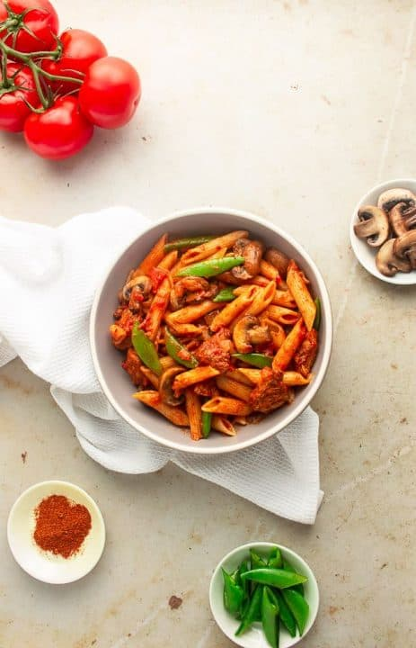 Pasta cooked with berbere spices