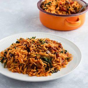 Nigerian Native Jollof Rice. Palm oil jollof