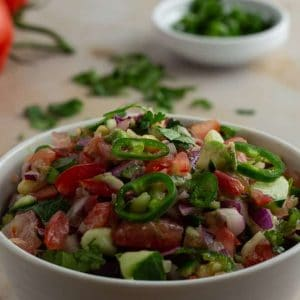Kachumbari Kenyan tomato and onion salad on a bowl