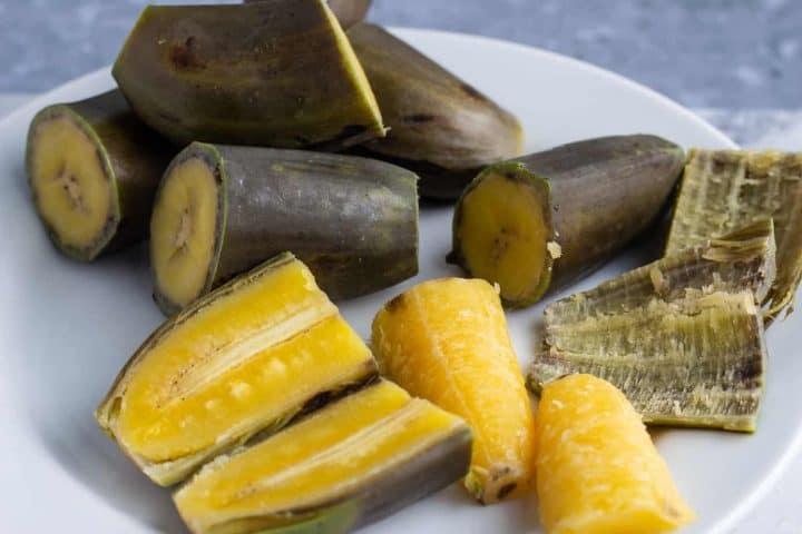 Boiled matoke - East African Highland green bananas