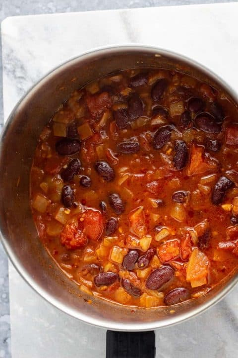 Matoke with beans in a pot