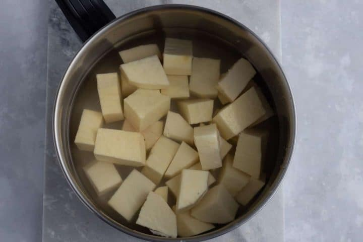 Yam cubes in a pot.