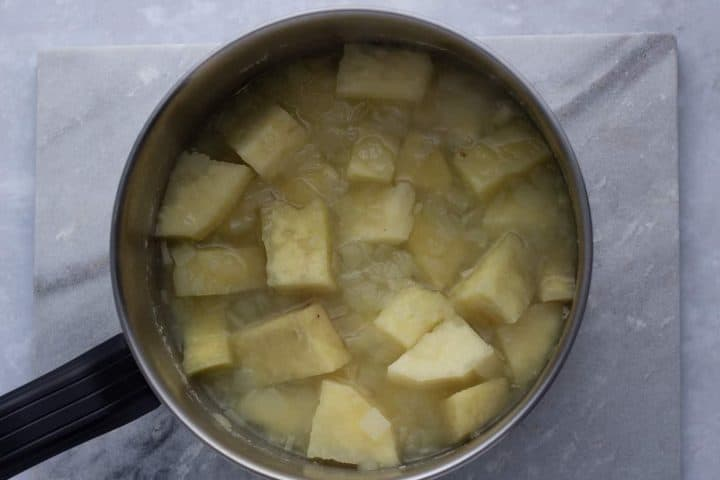 Cooked yam in a pot