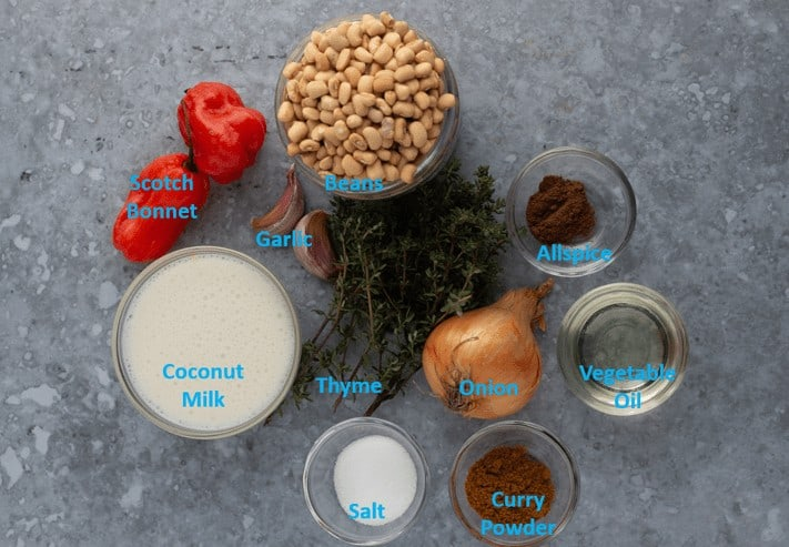 Ingredients for Caribbean curried beans
