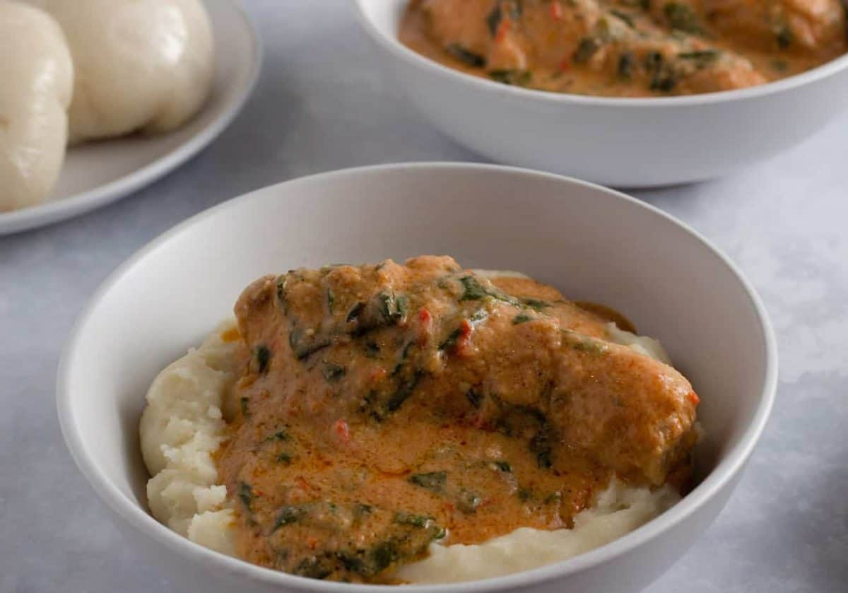 Ghana peanut soup with chicken and spinach