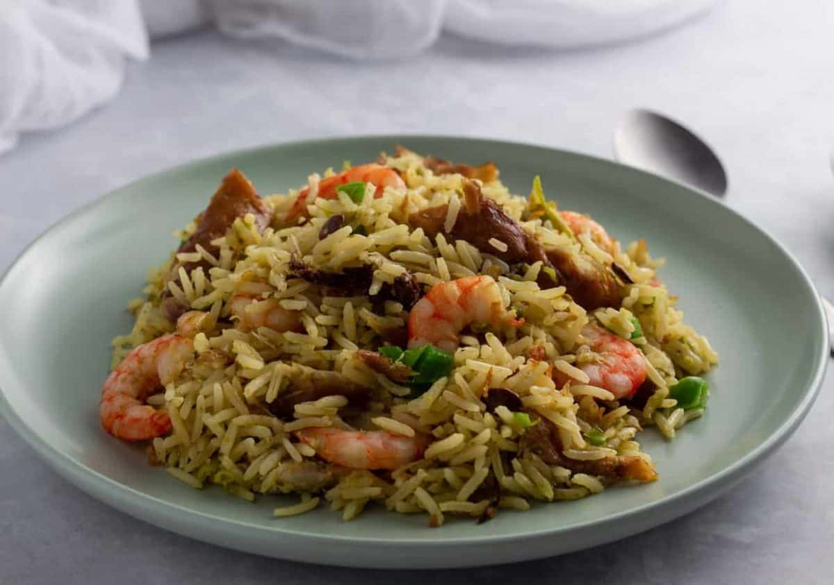 Ayamase one pot rice in a flat plate