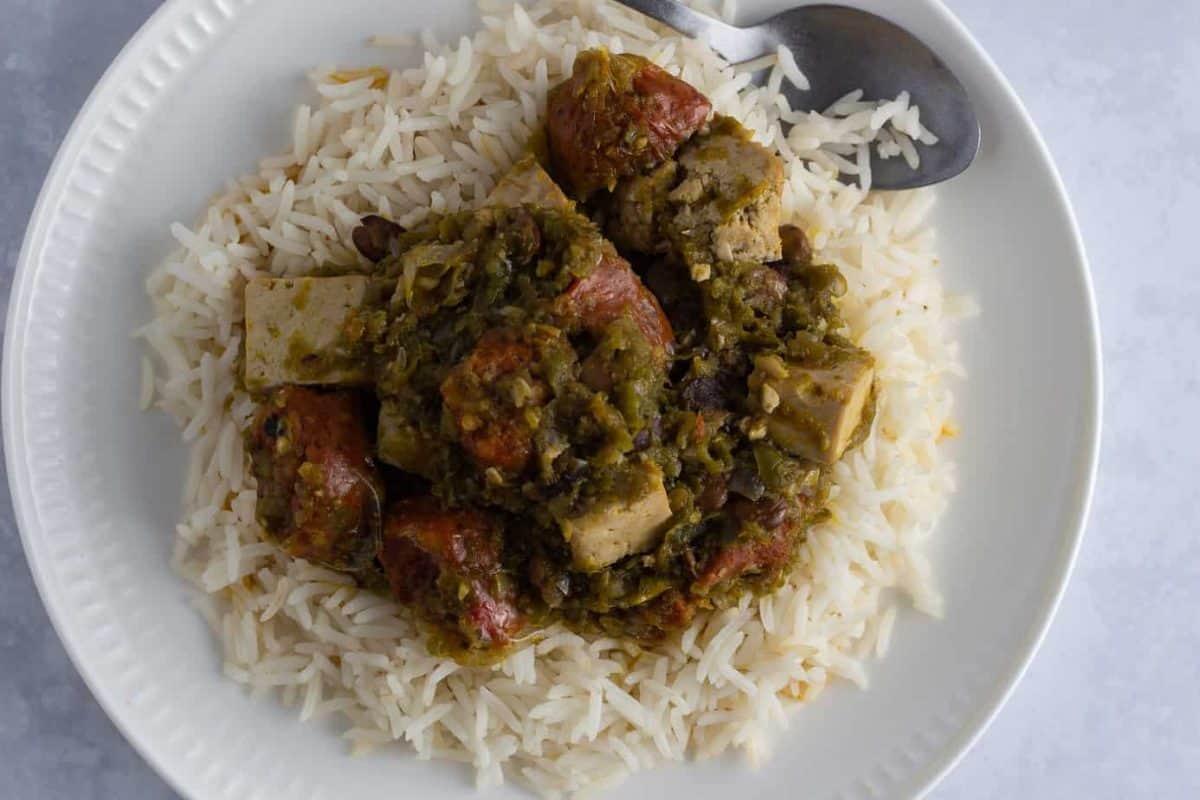 Vegetarian Ayamase stew served with white rice
