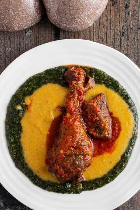 Abula. Gbegiri and ewedu soup served with meat.