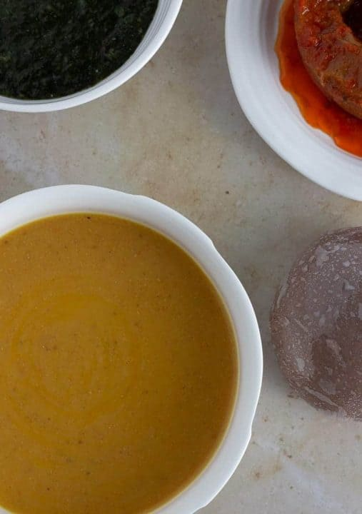 Gbegiri Soup. Nigerian bean soup with amala and ewedu