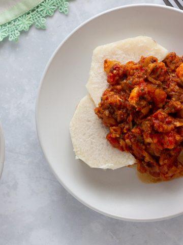 Nigerian eggplant stew served over yam