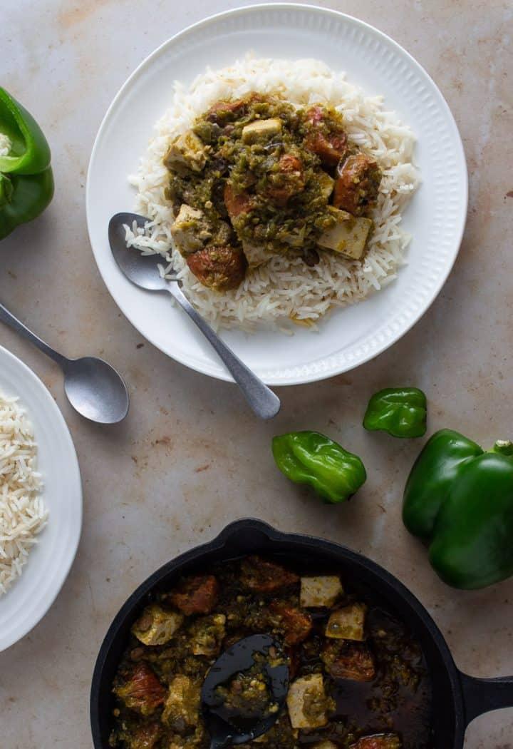 Vegetarian ayamase stew made with tofu and vegan sausages
