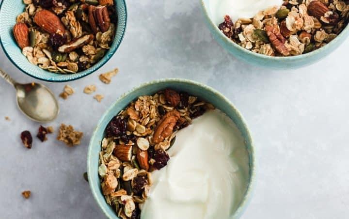 no bake granola with Greek yogurt in a bowl