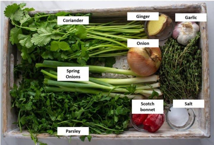 Caribbean green seasoning ingredients