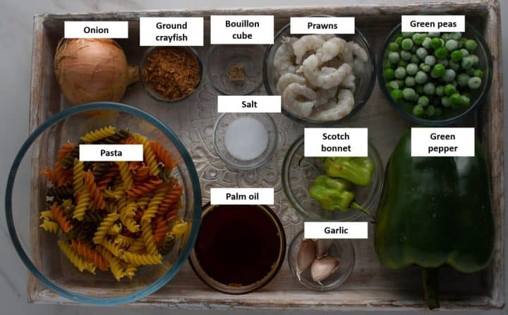 Ingredients for pasta cooked in ayamase sauce