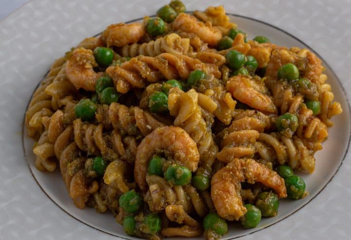 Ayamasa prawn pasta. Pasta cooked in spicy green pepper sauce with prawns
