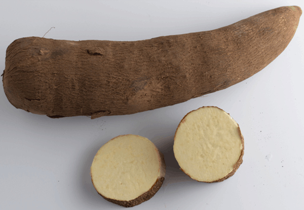 African yam image. Whole and slices