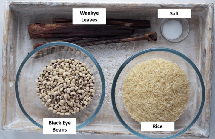 Waakye ingredients