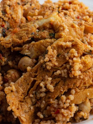 Chermoula fish couscous. Couscous prepare with chermoula spice